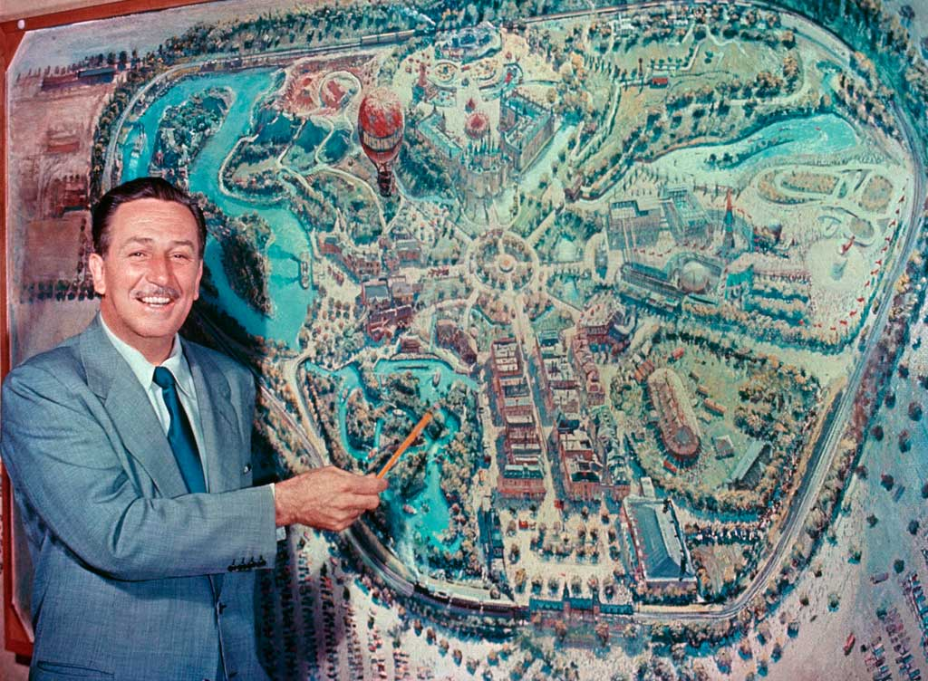 DISNEYLAND UNVEILED (1954) -Ð In front of an early rendering by Disney legend Peter Ellenshaw, Walt Disney unveils his plans for Disneyland to a national television audience during the premiere of ÒDisneylandÓ the television show, October 27, 1954.