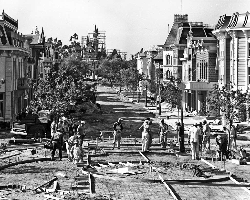 MAIN SREET UNDER CONSTRUCTION (1955) Ð- Workers prepare to pour cement where the northern edge of Town Square meets Main Street USA.