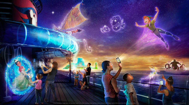 Guests aboard the Disney Wish will unlock the ship's hidden magic during Disney Uncharted Adventure, a first-of-its-kind interactive experience. Using innovative technology like augmented reality and physical effects, Disney Uncharted Adventure will take classic Disney storytelling into an all-new realm of immersive family fun as guests embark on a multidimensional voyage into the worlds of Moana, Tiana, Peter Pan, Nemo and more. (Disney)