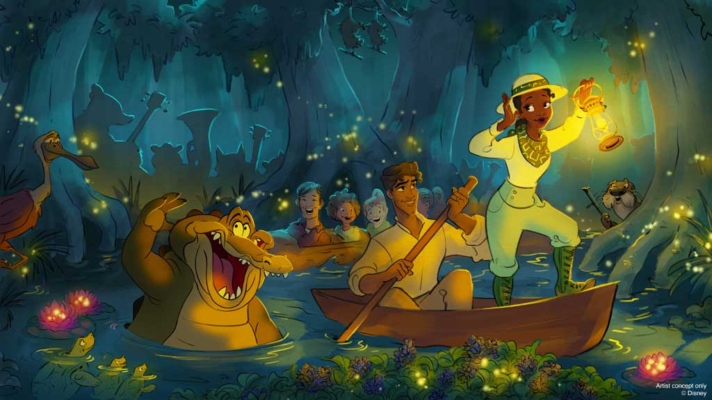 In this new rendering for upcoming Disney Parks attraction inspired by 'The Princess and The Frog,' the story will take place after the final kiss as Naveen and Louis join Tiana on her latest adventure, hosting a one-of-a-kind Mardi Gras celebration where everyone is welcome – during which some original music inspired by songs from the film will bring guests into the story. (Disney)