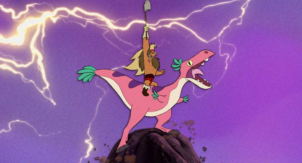 DINOSAUR BARBARIAN - Battling evil is all in a day's work for Dinosaur Barbarian, but what about taking out the trash? Sometimes even a superhero needs to clean up his act. The short film directed by Kim Hazel debuts with season 2 of Short Circuit Experimental Films from Walt Disney Animation Studios, exclusively on Disney+ August 4, 2021.  © 2021 Disney. All Rights Reserved.