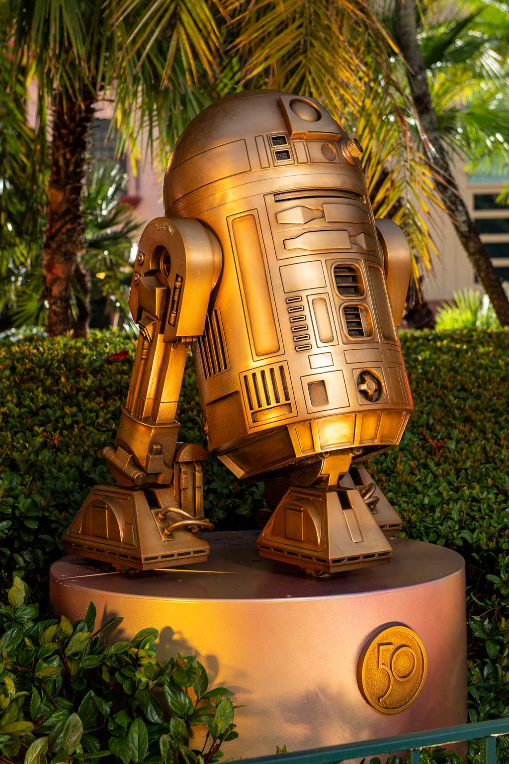 """R2-D2 at Disney's Hollywood Studios is one of the """"Disney Fab 50 Character Collection"""" sculptures appearing in all four Walt Disney World Resort theme parks in Lake Buena Vista, Fla., as part of """"The World's Most Magical Celebration,"""" beginning Oct. 1, 2021, in honor of the resort's 50th anniversary. (David Roark, photographer)"""