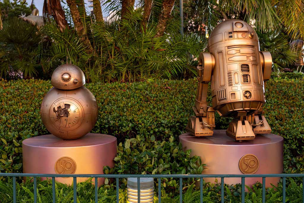 """BB-8 and R2-D2 at Disney's Hollywood Studios are two of the """"Disney Fab 50 Character Collection"""" appearing in all four Walt Disney World Resort theme parks in Lake Buena Vista, Fla., as part of """"The World's Most Magical Celebration,"""" beginning Oct. 1, 2021, in honor of the resort's 50th anniversary. (David Roark, photographer)"""
