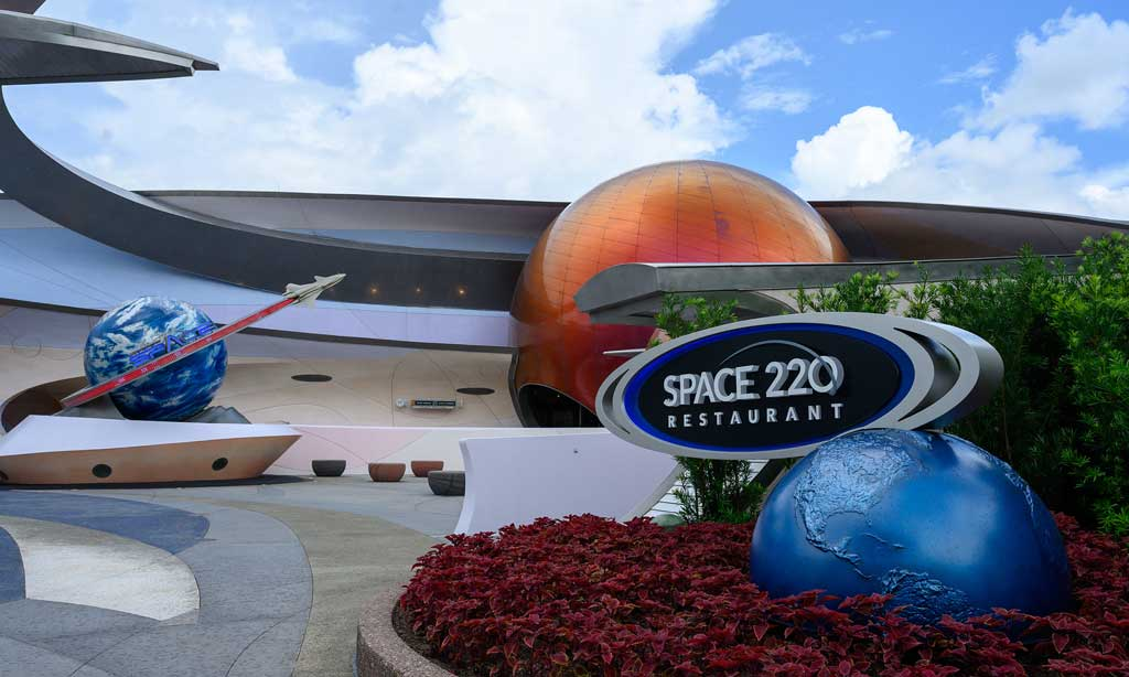 """Space 220 Restaurant offers the """"height of dining"""" at EPCOT at Walt Disney World Resort in Lake Buena Vista, Fla. The first-of-its-kind concept opens Sept. 27, 2021, inviting guests to feel as if they travel 220 miles above Earth to the Centauri Space Station for lunch or dinner. (Todd Anderson, photographer)"""