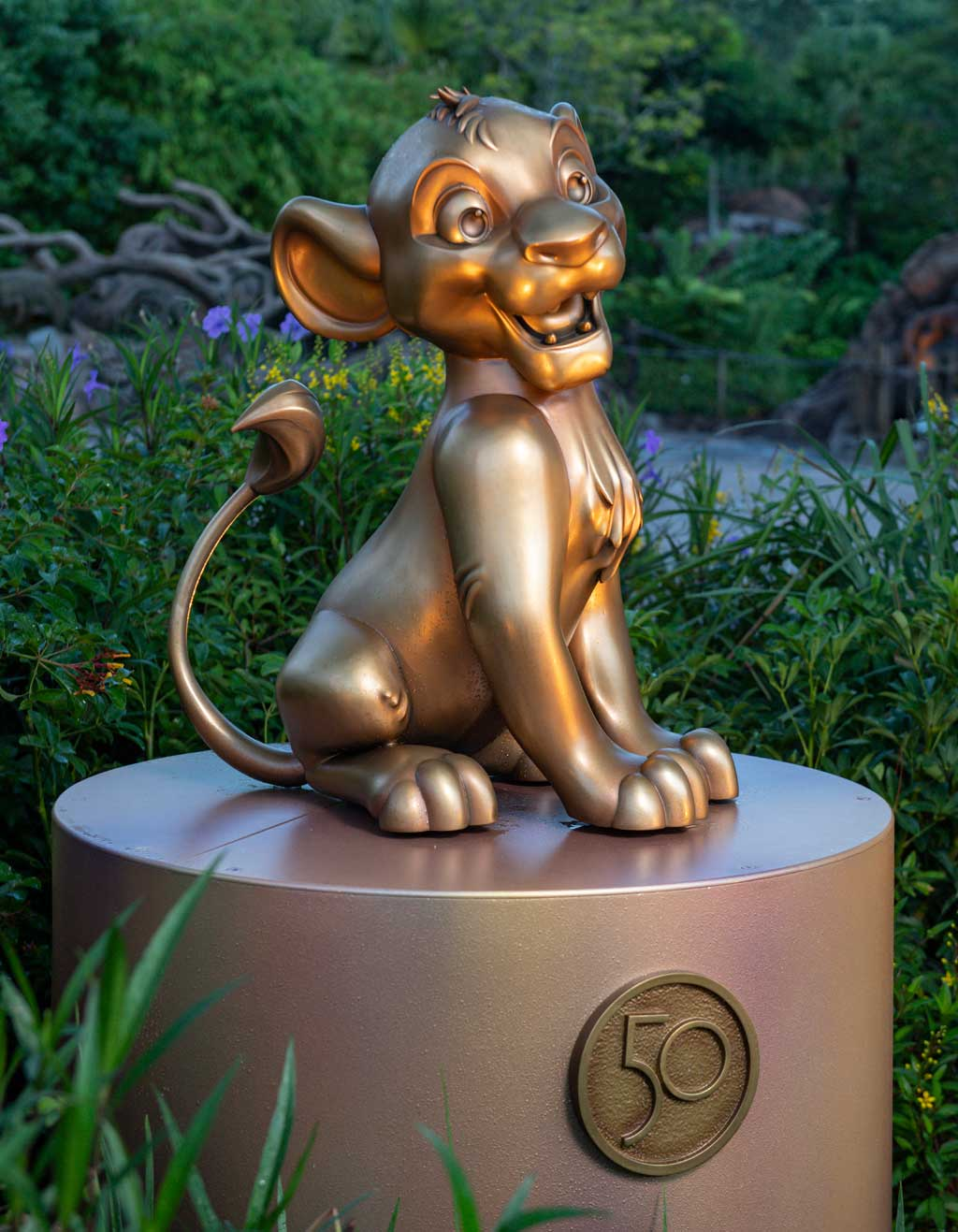 """Simba at Disney's Animal Kingdom Theme Park is one of the """"Disney Fab 50 Character Collection"""" appearing in all four Walt Disney World Resort theme parks in Lake Buena Vista, Fla., as part of """"The World's Most Magical Celebration,"""" beginning Oct. 1, 2021, in honor of the resort's 50th anniversary. (David Roark, photographer)"""