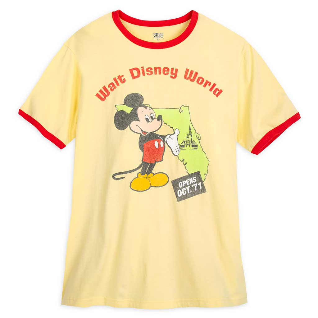 """The Vault Collection pays tribute to 50 years of Walt Disney World magic with an assortment of retro-themed designs right out of the Walt Disney Archives. The collection is part of """"The World's Most Magical Celebration,"""" an 18-month extravaganza that begins Oct. 1 at Walt Disney World Resort in Lake Buena Vista, Fla. (Disney)"""