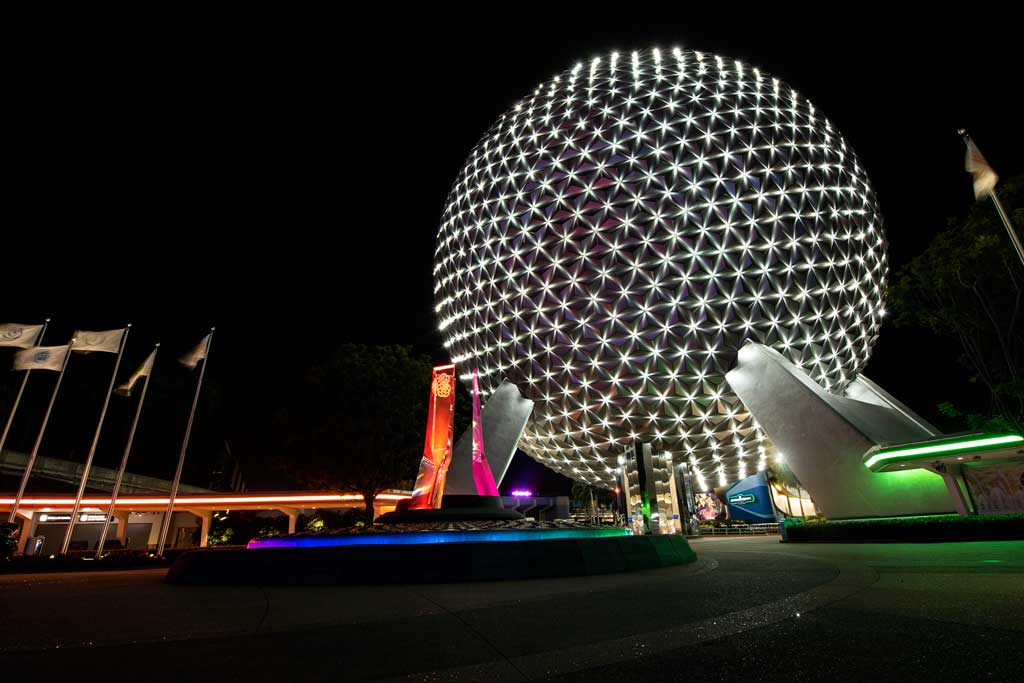 New lights shine across the reflective panels of Spaceship Earth, connecting to one another like stars in a nighttime sky and creating a mesmerizing symbol of optimism when it transforms into a Beacon of Magic at EPCOT at Walt Disney World Resort in Lake Buena Vista, Florida, during the resorts 50th anniversary celebration. (David Roark, photographer)
