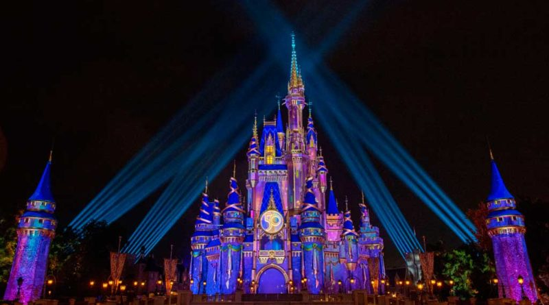 Cinderella Castle illuminates with a dazzling radiance and pixie-dust sparkle when it transforms into a Beacon of Magic at Magic Kingdom Park at Walt Disney World Resort in Lake Buena Vista, Florida, as part of the resorts 50th anniversary celebration. (David Roark, photographer)