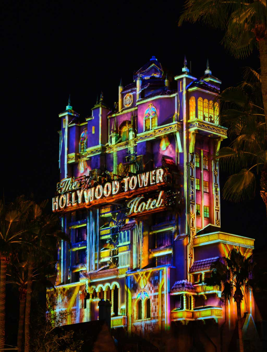 The Hollywood Tower Hotel is awash in a brilliance evoking the golden age of imagination and adventure when it transforms into a Beacon of Magic at Disney's Hollywood Studios at Walt Disney World Resort in Lake Buena Vista, Florida, as part of the resorts 50th anniversary celebration. (Todd Anderson, photographer)