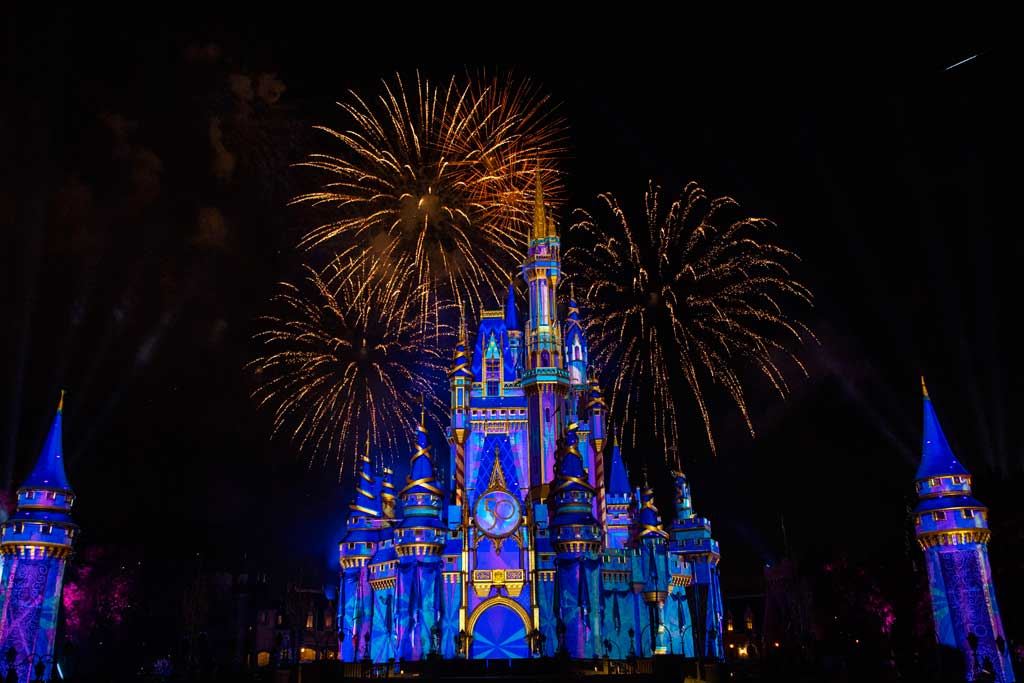 """""""Disney Enchantment"""" at Magic Kingdom Park, debuts Oct. 1, 2021, at Walt Disney World Resort in Lake Buena Vista, Fla. The new nighttime spectacular features stunning fireworks, powerful music, enhanced lighting and, for the first time, immersive projection effects that extend from Cinderella Castle down Main Street, U.S.A. (David Roark, photographer)"""