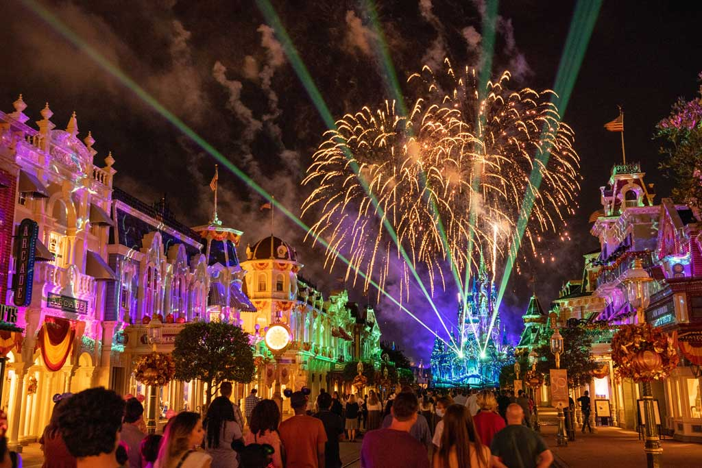 """""""Disney Enchantment"""" at Magic Kingdom Park, debuts Oct. 1, 2021, at Walt Disney World Resort in Lake Buena Vista, Fla. The new nighttime spectacular features stunning fireworks, powerful music, enhanced lighting and, for the first time, immersive projection effects that extend from Cinderella Castle down Main Street, U.S.A. (Kent Phillips, photographer)"""